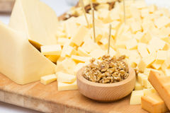 Cheese Plate with Dried Fruit and Honey Royalty Free Stock Image