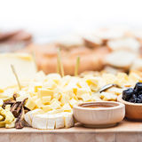 Cheese Plate with Dried Fruit and Honey Royalty Free Stock Photo