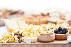 Cheese Plate with Dried Fruit and Honey Royalty Free Stock Photography