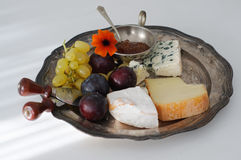 Cheese plate with fall fruits Stock Photo