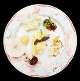 Cheese plate with fruits and nuts Royalty Free Stock Photography