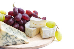 Cheese plate with grape Stock Photo