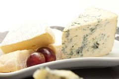 Cheese plate with grapes Stock Photography