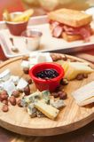 Cheese plate in restaurant Royalty Free Stock Images