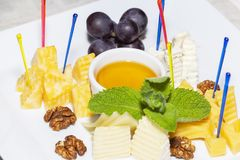 Cheese plate served with grapes, walnuts and honey close-up.  stock photos