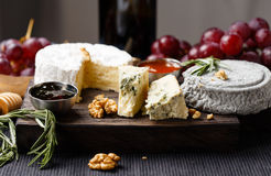 Cheese plate  served with wine, gam and honey Royalty Free Stock Image