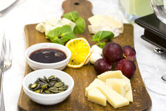 Cheese plate with several kinds Royalty Free Stock Photography