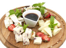Cheese plate with several varieties of cheese Stock Image