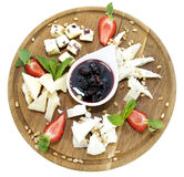 Cheese plate with several varieties of cheese Stock Photos