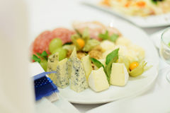 Cheese Plate on Table Royalty Free Stock Images