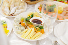 Cheese Plate on Table Royalty Free Stock Photo