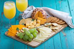 Cheese plate on a table Royalty Free Stock Photo