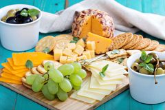 Cheese plate on a table Stock Images