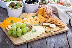 Cheese plate on a table Stock Photo