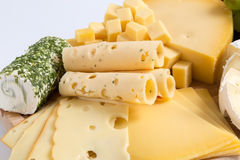 Cheese plate variation isolated white Stock Photography