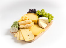 Cheese plate variation  white Stock Photo