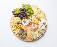 Cheese plate variation on white background Royalty Free Stock Photo