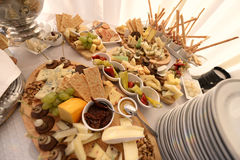 Cheese plateau with crackers Royalty Free Stock Images
