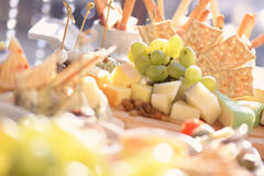 Cheese plateau with crackers Royalty Free Stock Photography