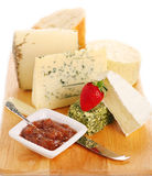 Cheese platte with fresh cheese Royalty Free Stock Images