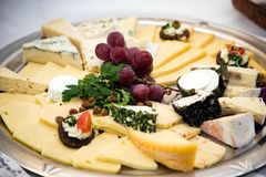 Cheese platter. With bunch of grapes Royalty Free Stock Images
