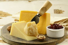Cheese platter. With nuts and jam Royalty Free Stock Image