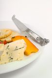 Cheese platter. With various cheeses and knife Royalty Free Stock Photography