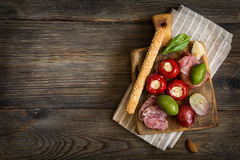 Cheese platter. Antipasti. Royalty Free Stock Photos
