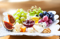 Cheese platter. Christmas tree cheese platter for holiday Royalty Free Stock Photos