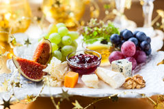 Cheese platter. Christmas tree cheese platter for holiday Royalty Free Stock Images