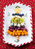 Cheese platter. Christmas tree cheese platter for holiday Stock Photos