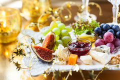 Cheese platter. Christmas tree cheese platter for holiday Stock Photography