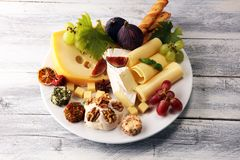 Cheese platter with different cheese and grapes. Cheese platter with different cheese and grapes stock photos