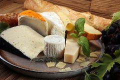 Cheese platter with different cheese on rustic plate.  Royalty Free Stock Photos