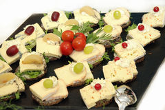 Cheese platter with different types of cheese Royalty Free Stock Images