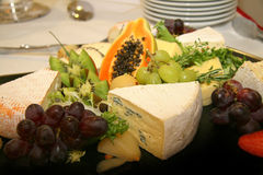 Cheese platter with different types of cheese Royalty Free Stock Photo