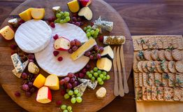 Cheese platter flat lay image royalty free stock photos