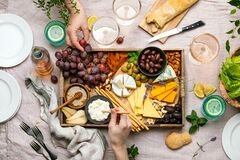 Free Cheese Platter For Summer Outdoor Party, Top Down View Royalty Free Stock Photography - 184339097