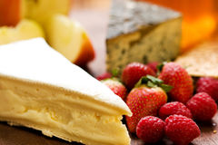 Cheese Platter with Fruit Royalty Free Stock Photo