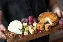 Cheese platter in hands of cheese maker. Cheese platter with assorted cheeses, grapes, nuts in hands of cheese maker. Italian cheese and fruit platter Stock Photos