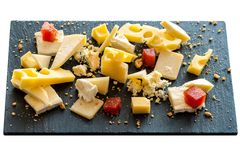 Cheese platter isolated. Royalty Free Stock Images