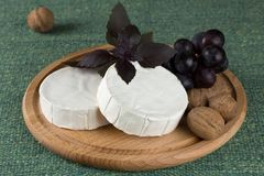 Cheese platter with  nuts and  grapes Royalty Free Stock Photos