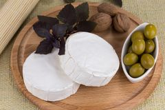 Cheese platter with  nuts and  grapes and olives. Cheese platter with nuts and grapes, olives and herbs on a wooden plate Royalty Free Stock Photo