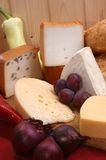 Cheese platter with organic fresh cheese Royalty Free Stock Image