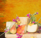 Cheese platter with pear and Parmesan Italian Royalty Free Stock Images