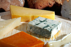 Cheese platter selective focus. Cheese platter with some organic fresh cheese and bread Royalty Free Stock Photos