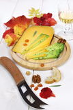 Cheese platter: solid cheese, autumn leaves and wineglass Royalty Free Stock Photography