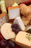 Cheese platter with some fresh cheese stock photos