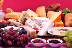 Cheese platter with some fresh cheese Stock Photography