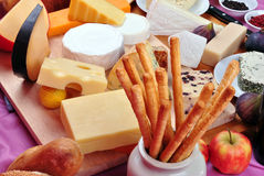Cheese platter with some fresh cheese Royalty Free Stock Photos
